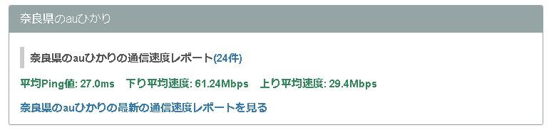 奈良auひかりの平均速度