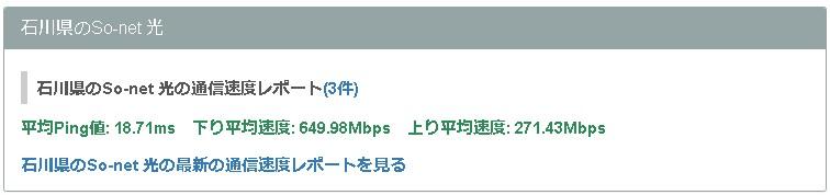 石川ソネット光の平均速度