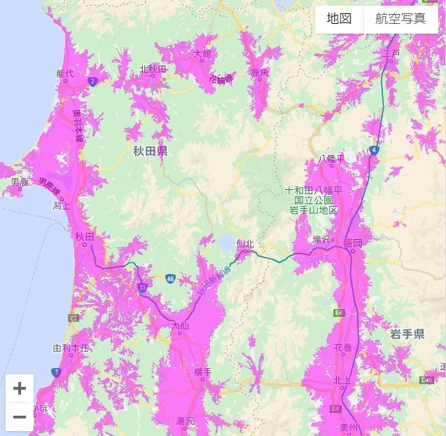 秋田県のwimaxエリア