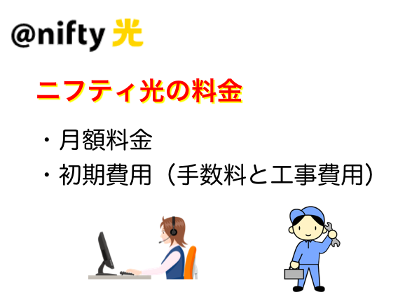 ニフティ光の料金|月額料金・初期費用(手数料と工事費用)